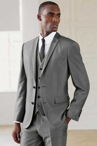 Wholesale - Modern Top Selling Groom Tuxedos,Grey Wedding Suit Ceremony Suit Groomsman Suit Boy's Suit (Jacket+Pants+Vest)Bridegroom Sui
