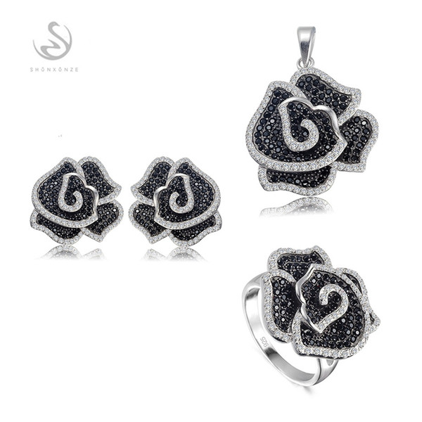 New Arrivals Noble Generous S-3789sets White and Black Cubic Zirconia Vintage 925 sterling silver Promotion heart set (ring/earring/pendant)