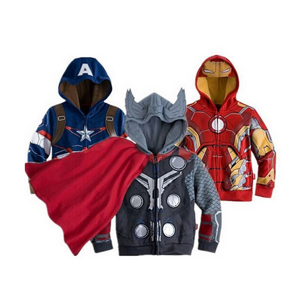 top popular Children Hoodies JACKET BABY Boys Captain America Hoodies Jacket Avengers Hulk thor iron man Superhero cosplay Kids hoodie jacket C001 2019