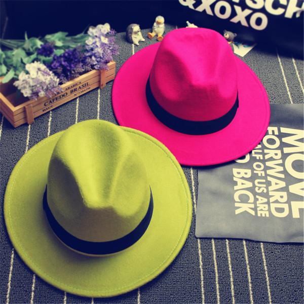 Gros-2015 à la mode New Vintage Femmes Mens Fedora Felt Hat Mesdames Floppy Large bord laine feutre Fedora Cloche Hat Chapeu Fedora A0451