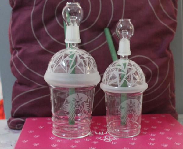 Neueste Dabuccino Cup Rig Glas Sandblasted Starbuck Cup Abtupfen Konzentrat Ölplattform HITMAN GLAS DABUCCINO X EVOL Bongs Wasserrohr Fimble Leaf