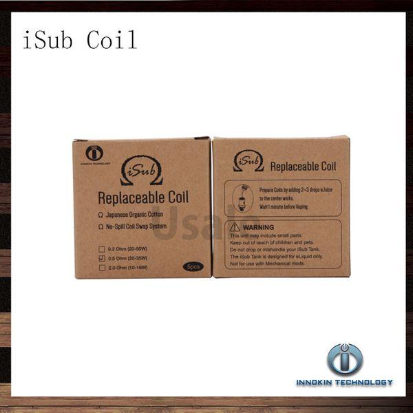 top popular Innokin iTaste iSub Sub ohm Coil 0.2ohm 0.5ohm 2.0ohm Replacement Coils For iSub iSub Tanks iSub Atomizer Coil Head 100% Original 2021
