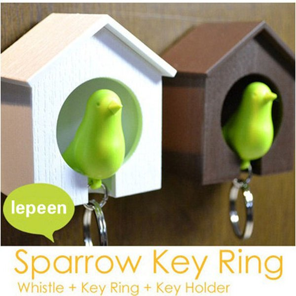 Best HOT 20pc New Hot Bird Nest Sparrow House Key Chain Ring Chain Wall Hook Holders Plastic Whistle