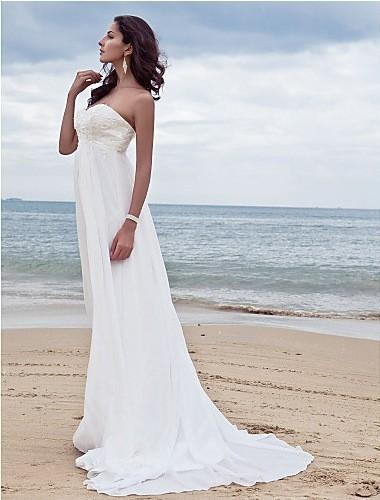 2018 NEW HOT Romantic Wedding Dresses For Pregnant Women Beach Bridal Gowns Backless Chiffon Bride Dress