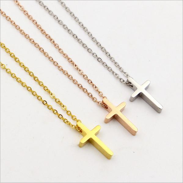 Agood mini cross pendant necklace for women men couple fashion jewelry accessories rose gold titanium steel necklaces