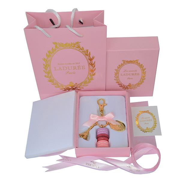 Lega placcato oro Francia LADUREE Macaron Effiel Tower Portachiavi Moda Portachiavi Portachiavi accessori di fascino borsa w confezione regalo e borsa