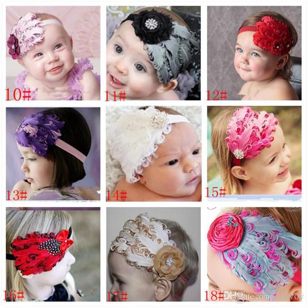 Baby feather Headbands Baby girls Kids feather Hair Ornaments Hair Bands Shining headwear Hair Accessories kids childrens Headwrap KHA214
