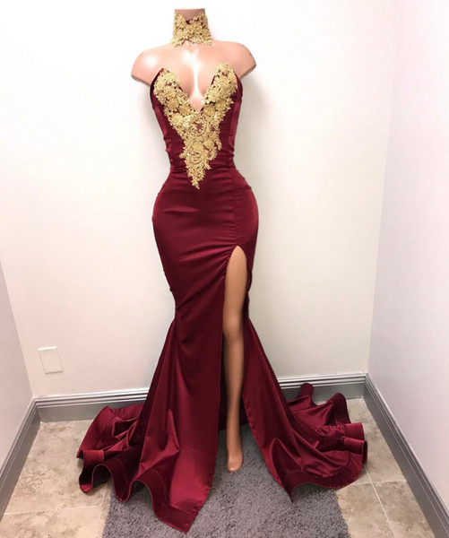 top popular Hot Sale Burgundy Mermaid Prom Dress Lace Appliques Sexy Slit Deep V-Neck Evening Gowns Formal Dresses 2020