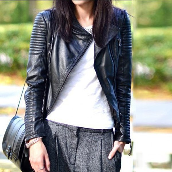 best selling Wholesale-2015 New Fashion Autumn Winter Women Motorcycle Faux Soft Leather Jackets Pu Black Zippers Long Sleeve Outerwear Coat