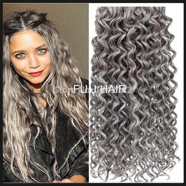 Hot sale prata cinza extensões de cabelo 1 PÇS / LOTE humano cinza cabelo tecer 100G brasileira profunda encaracolado extensão do cabelo virgem cinza