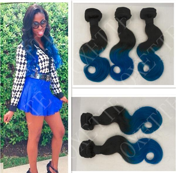 Oxette blue ombre hair weave extensions body wave, two tone color #1b/blue, brazilian virgin human hair 4 bundles