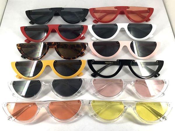 2019 Cool Vintage Cat Eye Sunglasses Semi-Rimless Moda Cateye Mujeres Gafas de sol 12 colores Metal Bisagra barato al por mayor Eyewea