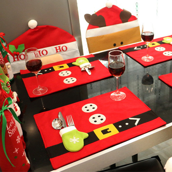 Wholesale- Creative home Christmas table mats with knife fork cover sets Christmas birthday party table decoration mats
