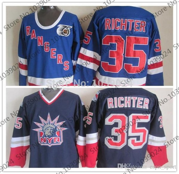 the best attitude a61ac 88575 2019 2015 35 Mike Richter New York Rangers Alternate Lady Liberty CCM Ice  Hockey Jersey Navy Blue 75 Anniversary Ccm Jersey Hot Sale From Espn_sport,  ...