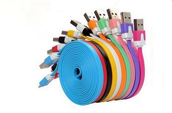 High quality Colorful V8 Cable micro USB Sync Data Charging Charger Cable Flat Noodle Cords For SamsungGalaxyS6 HTC Android Mobile Phone