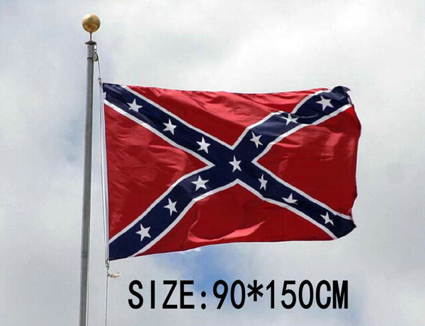 best selling 100 pcs Dixie Battle Flags Civil War Confederate National Flags 150*90cm Two Sides Printed Polyester Flags