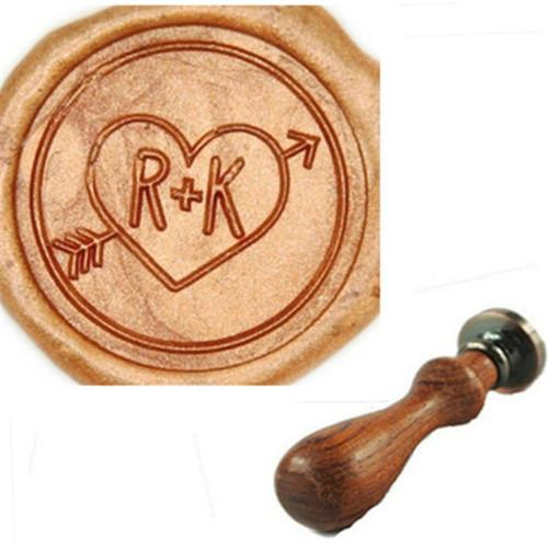Vintage Custom Love Heart & Arrow Two Letters Wedding Invitations Wax Seal Stamp
