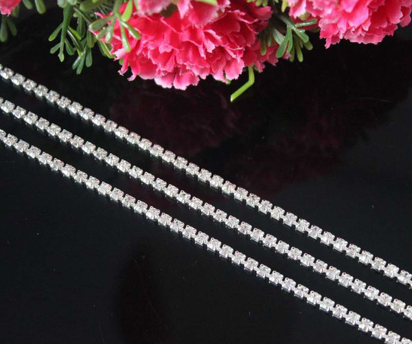 5Yards/lot DIY 1Row Clear Rhinestone Cup Chain Trimming For Garment Jewelry Wedding Accessories Silver Base SS12 3mm