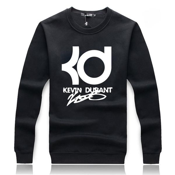Wholesale-2016 autumn winter Hoodies Sweatshirts men Hoodies Hip Hop Design Kevin Durant Grey black Hoody Sleeves Pullover ding