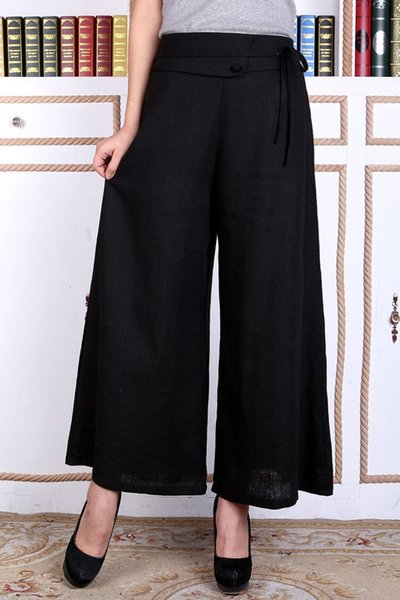 Shanghai Story wide leg pants tang suit female trousers national trend women's chinese style clothes flare trousers Black Women's Pants
