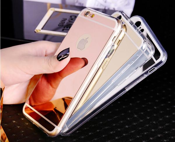 Étui à miroir Galvanoplastie Chrome Ultramince Doux TPU Couverture de téléphone pour Samsung Galaxy S7 S8 S8 Plus
