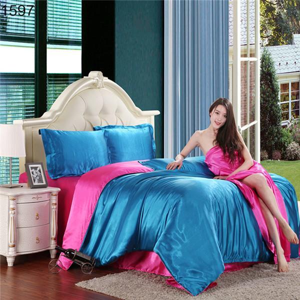 Atacado-mais de 20 padrões de cetim de seda conjuntos de cama, Sentimento de seda de boa qualidade edredon / cachecol define com folha, rocha para baixo preço venda