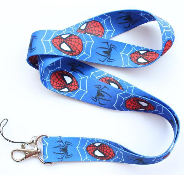 Wholesale 50pcs Spiderman Lanyard Key Chain Holder mobile phone chain KEYS ID Neck straps free shipping S#72
