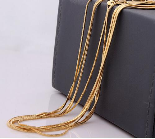 snake chain wholesale 18kgf gold plated snake chain 16 18 20 22 24 26 28 30 inch necklace snake chain 20pcs
