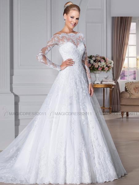 2019 Elegant Bateau Wedding Dresses Overskirts Sheer Lace Back Beach Bridal GownsA-Line Appliques Long Sleeve Wedding Gown Bridal Dress