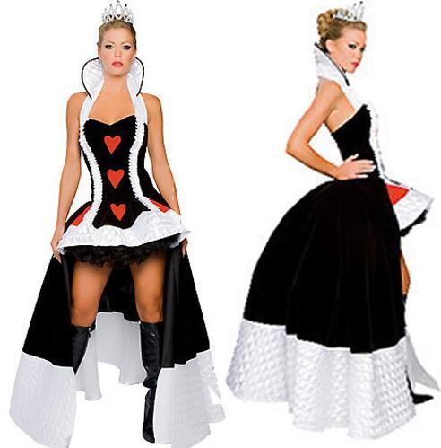 best selling 2019 Best Price Classic Style Long Women's Sexy Halloween Costume Enchanting Queen of Hearts Game Costume