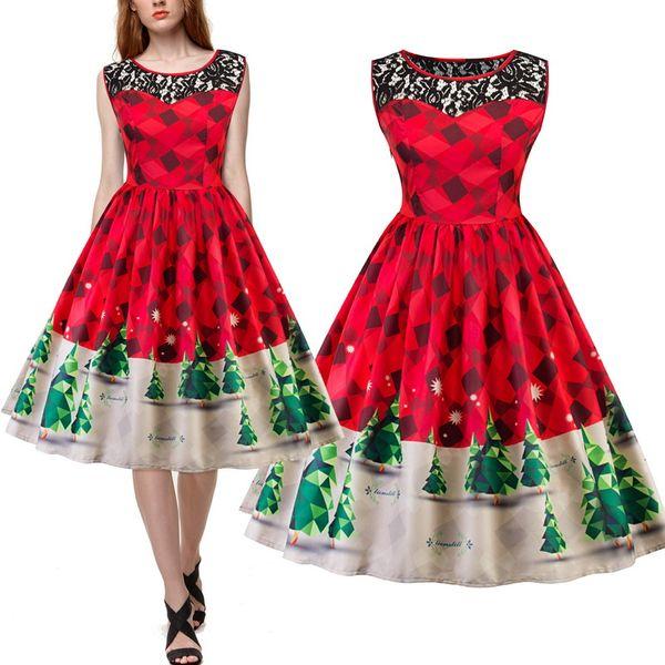 New Tree Print Lace Vintage Dress Plus Size Sleeveless Women Christmas  Party Dresses Retro 50s 60s Vestidos Red Green Blue Purple DK4116SY Evening  ...
