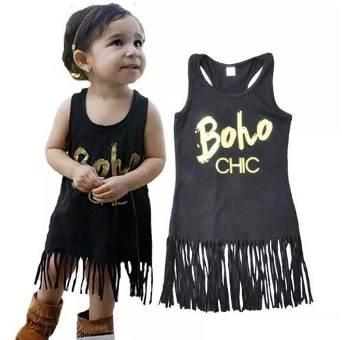 Rock Metallic Style Baby Girls Dress Summer Tassel Girls Dress Western Party Newborn Clothes Hot Sales
