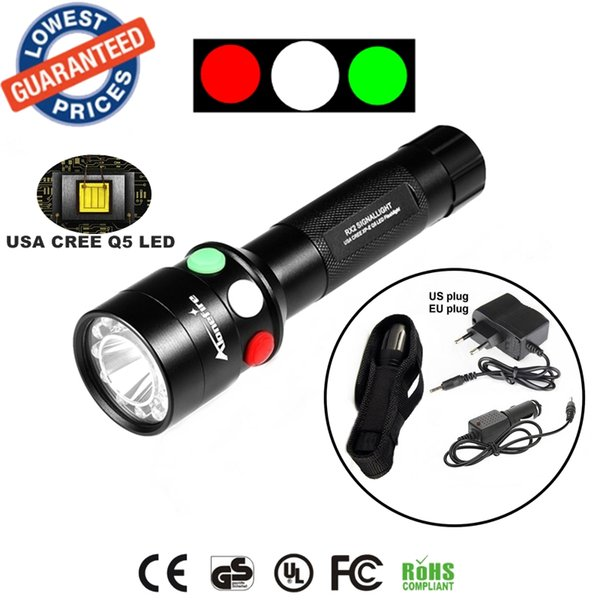ALONEFIRE RX2-RWG CREE XPE Q5 LED Red White Green Outdoor Railway Signal lamp flashlight torches with Charger/flashlight holster
