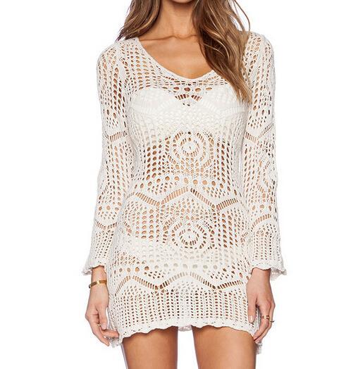 Send Belt free! Women beach bikini cover ups sunscreen blouses holiday dresses sexy Hollow crochet White Lace swimwear beachwear shirts tops
