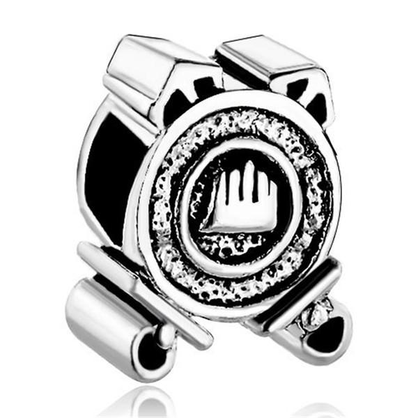 10 unids por lote Rodio Chapado Arte de Navidad Pequeño Reloj Charm Beads Para Pandora DIY pulsera