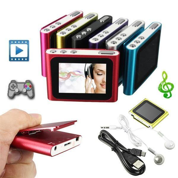 6th Gen 1.8 Inch screen Clip FM Radio Mp3 Player Support 4/8/16/32GB Micro SD/TF Including Headphone
