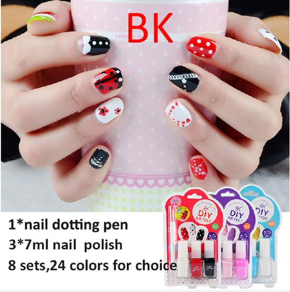 BK cute kids sexy sweet color nail art kit designs white red blue ...