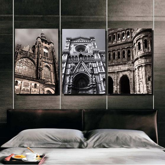 3 Piece Modern Wall Painting Europe City Architecture Home Decor For Living Room Art Picture Paint On Canvas Prints(No Frame)