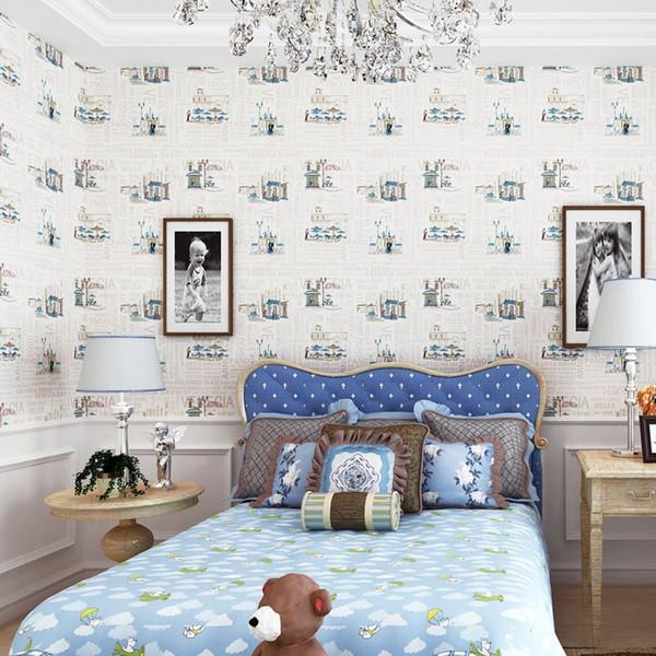 Amerikanische Retro Reine Papier Tapete Tapete Schlafzimmer Beige  Hintergrund Weiße Karikatur Jungen Und Mädchen Kinderbekleidung Speichern