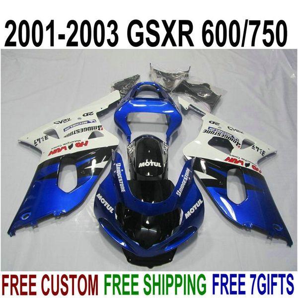Free shipping fairing kit for SUZUKI GSXR600 GSXR750 2001-2003 K1 GSX-R 600/750 01 02 03 blue white black plastic fairings set XN1
