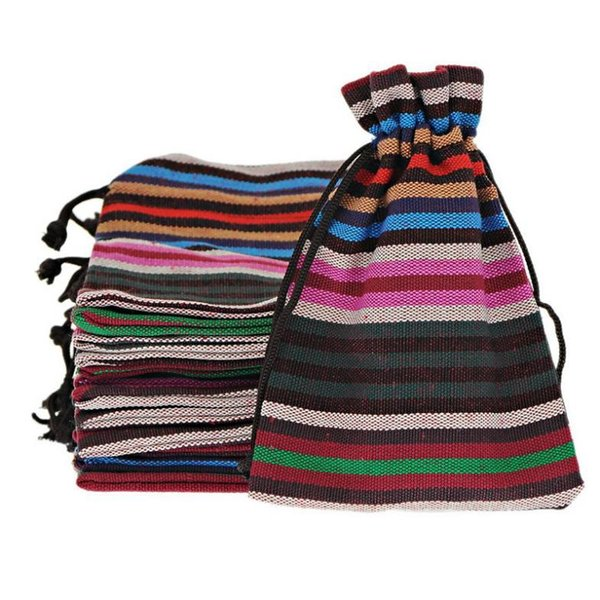 2015 New 10x14cm Bohemian Style Handmade Bunt Stripes Tribal Tribe Drawstring Jewelry Gift Cotton Bags Pouches Tea bags