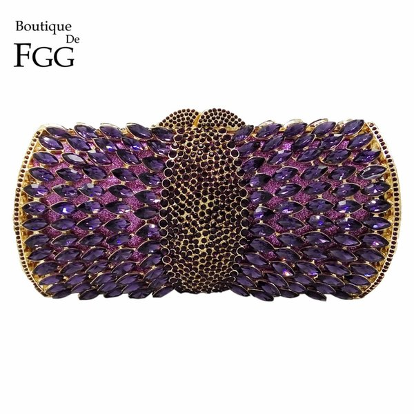 Wholesale- Women Socialite Purple Rhinestones Crystal Evening Clutches Bag Wedding Dress Bridal Diamond Chains Shoulder Handbags Purses