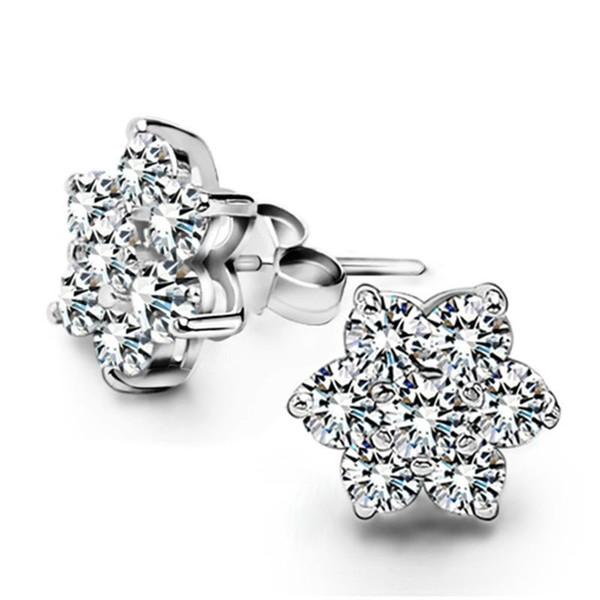Monili d'argento sterlina della ragazza dell'orecchino del fiocco di neve del diamante splendente romantico caldo squisito