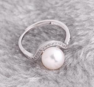 Free shipping wholesale beautiful pearl Rings Hong Fu Yuan 8-9mm perfect circle natural pearl ring HFY-1513