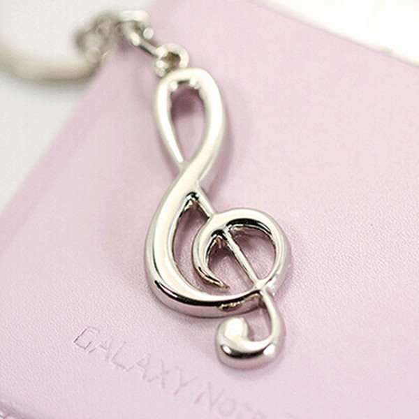 1 STÜCKE Kostenloser Versand Werbe Schlüsselanhänger Schmuck Musical Note Design Silber Überzogene Legierung Schlüsselanhänger Kette