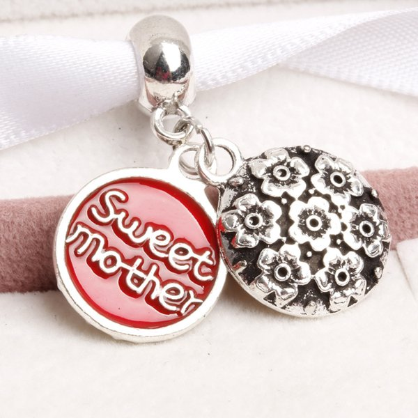 4 colors Big Hole Loose space Beads sweet mother charms pendants For Pandora DIY Jewelry Bracelet women jewelry wholesales directly factory