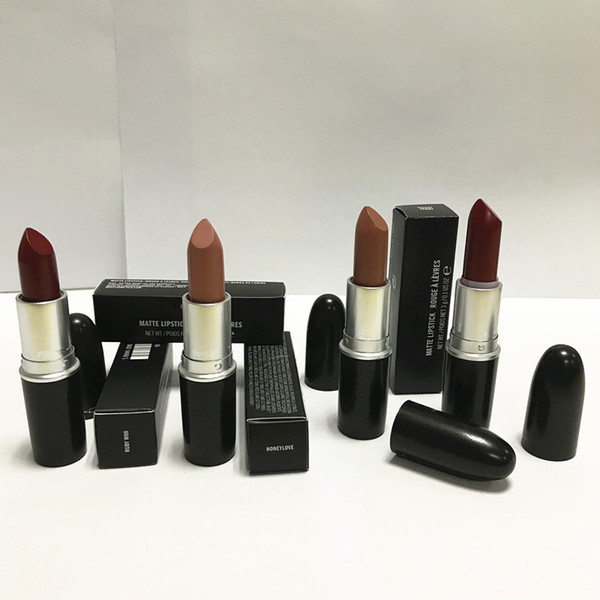 Good quality Luster Lipstick RUBY WOO CHILI VELVET TEDDY HONEYLOVE KINDA Frost Retro Matte Lipstick 3g with english name 18 colors