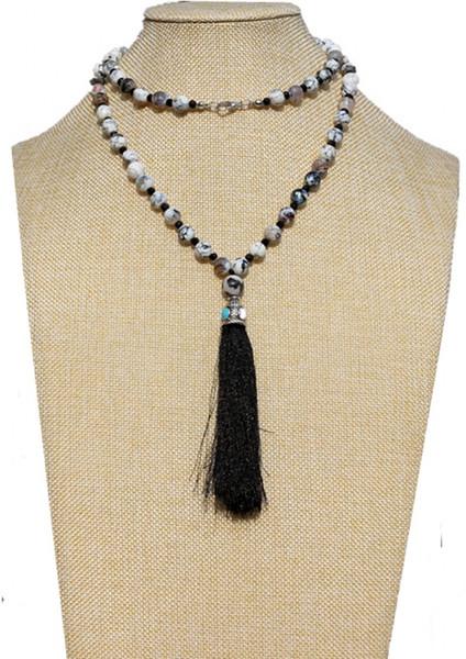 Mode 8 mm Pierres chaîne Rosaire Noir Tassel Pendentif Mala collier main femmes chaîne corde Perle pierre naturelle