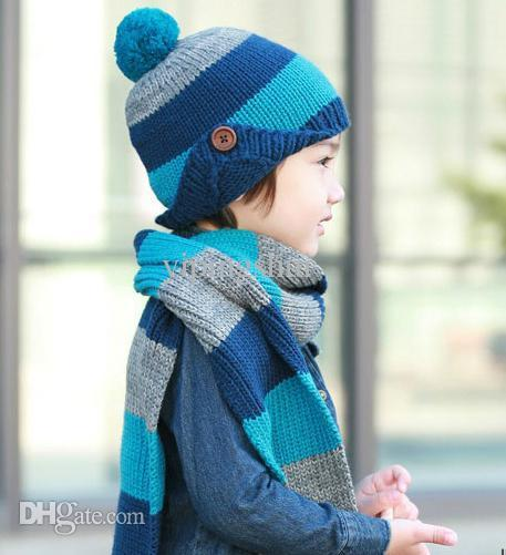 Wholesale-2-8 Year Old Two Piece Set 2015 Kid Winter Hat Scarf Sets Knit Cotton Cap Earflap Scarf and Hat For Children Beanies 1Set/Lot