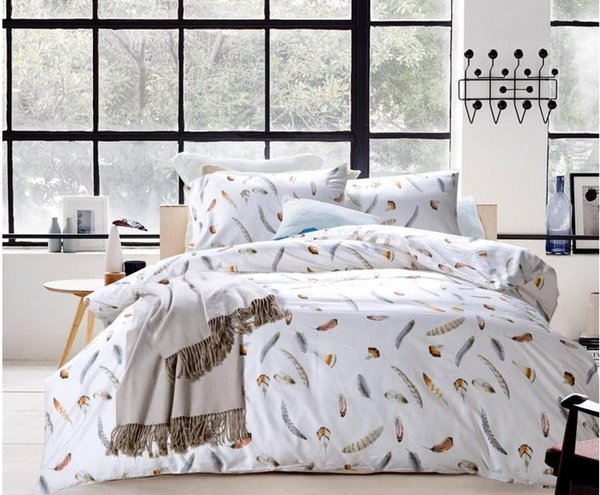 Luxury 100% Egyptian cotton bedding set feather plume brown sheets king queen size quilt duvet cover bed in a bag bedspreads 60 bedlinens